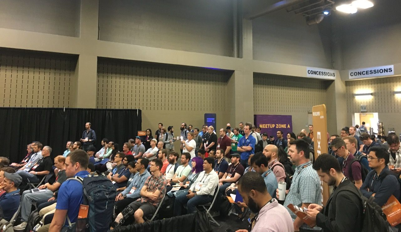 Audience watching Robert Collings' lightning talk about monetizing open source at the DeveloperWeek Austin conference in November 2019.