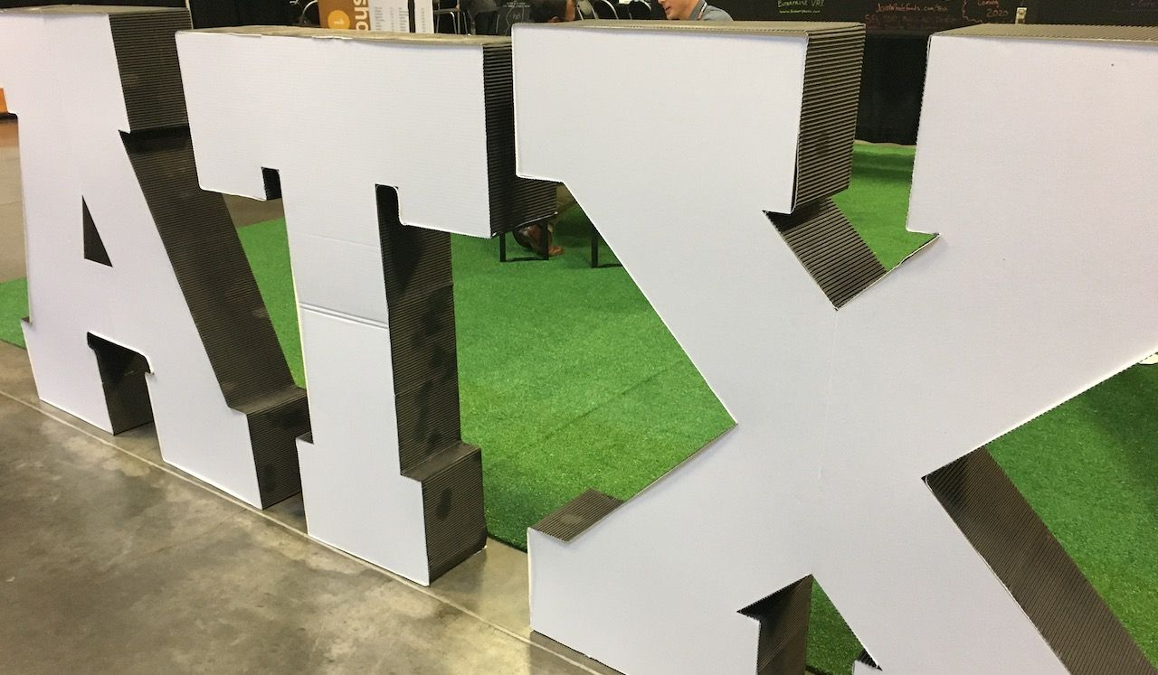 Sign at the entrance to the DeveloperWeek Austin conference, large freestanding letters, A, T, and X (ATX).
