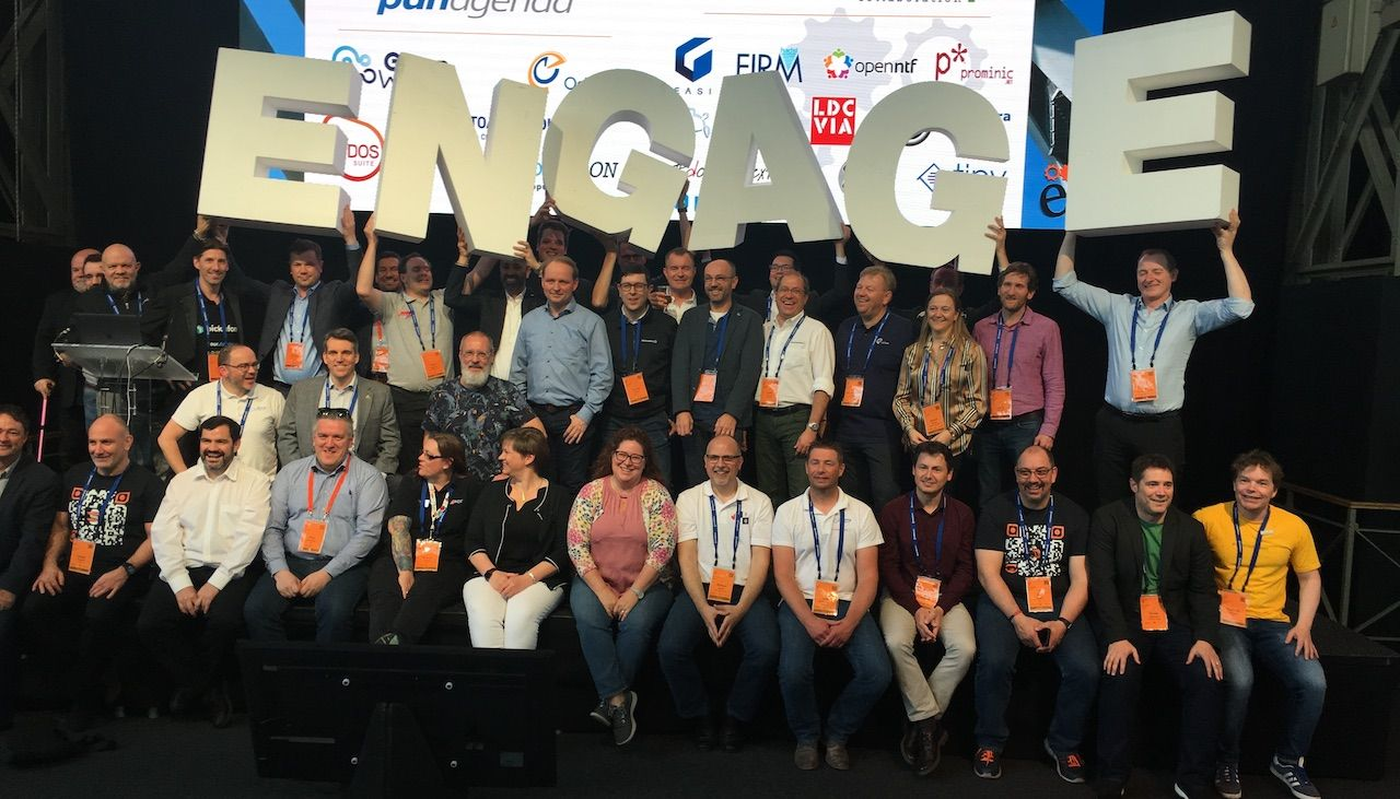 HCL Engage User Group conference, final keynote, HCL team and partners on stage.