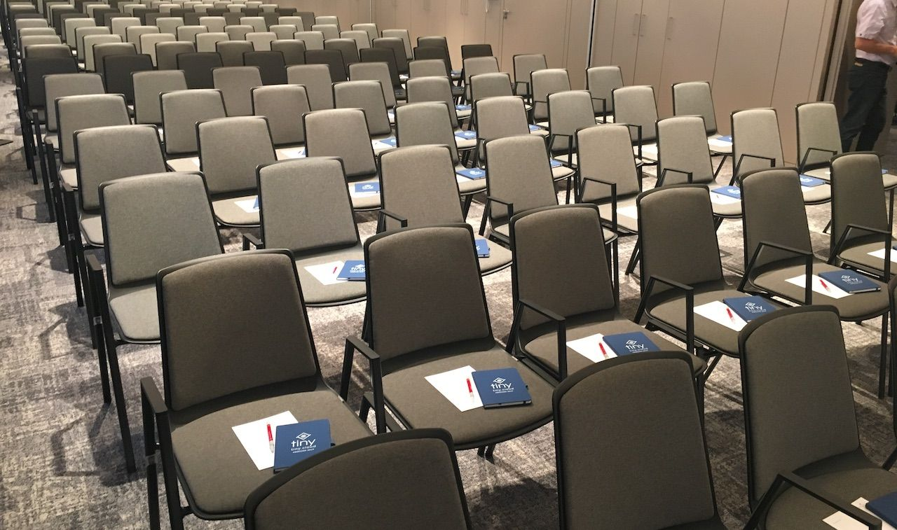 HCL Social Connections 2019 conference, papering the room with TinyMCE notebooks.