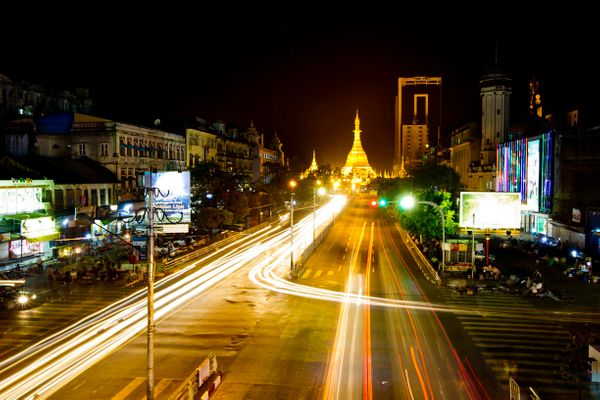 Yangon, Myanmar at night
